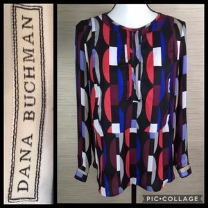 Dana Buchman Geometric Print Long Sleeve Blouse